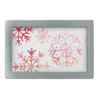 Red Watercolor Snowflakes Rectangular Belt Buckle