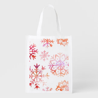 Red Watercolor Snowflakes Reusable Grocery Bag