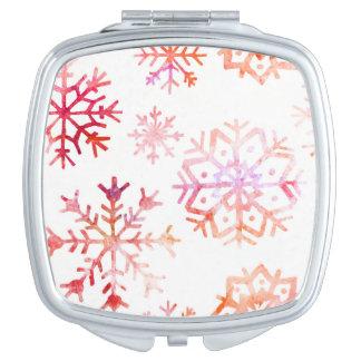 Red Watercolor Snowflakes Vanity Mirror