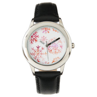 Red Watercolor Snowflakes Watch