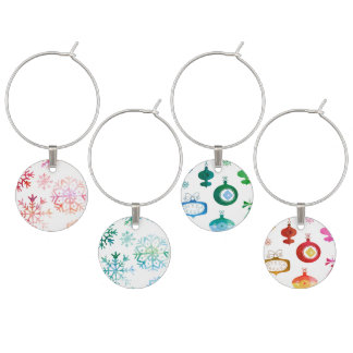 Red Watercolor Snowflakes Wine Charm