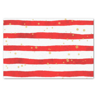 Red Watercolor Stripes With Gold Speckles Tissue Paper