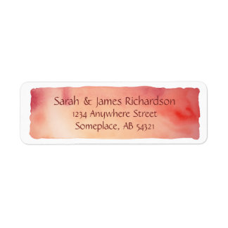 Red Watercolor Wash Artistic Painting Label Return Address Label