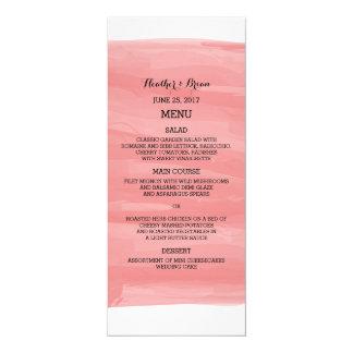 Red Watercolor Wedding Menu 4x9.25 Paper Invitation Card