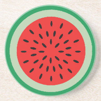 Red Watermelon with Green Rind Drink Coaster