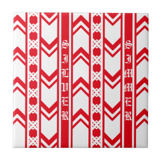 Red wave lace ceramic tile