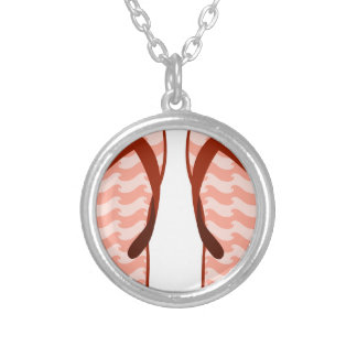 Red Waves Flip Flops Silver Plated Necklace
