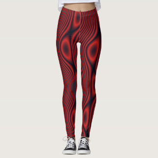 Red Wavy Lines and Odd Ovals w/Black Leggings