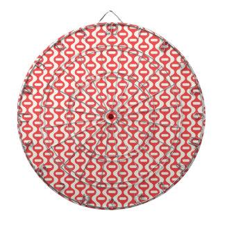 Red Wavy Retro Pattern Dart Board