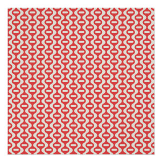 Red Wavy Retro Pattern Poster