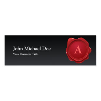 Red Wax Seal Monogram Profile Card Business Card Template