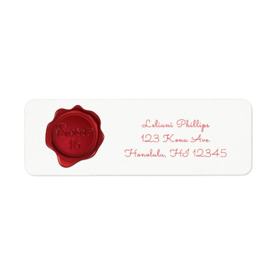 Red Wax Seal Sweet 16 Elegant Formal Party Return Address Label
