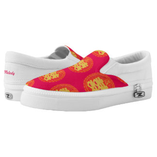 Red Wedding Double Happiness Zipz Slip On Printed Shoes