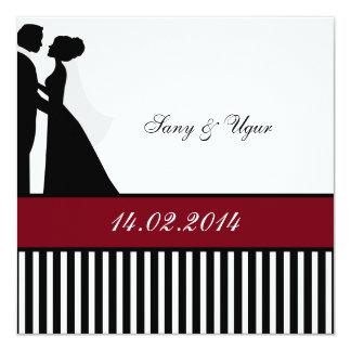 Red wedding invitation of pair of weddings