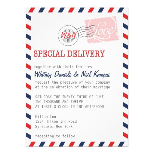 Red Wedding Invitation Postal Service Collection
