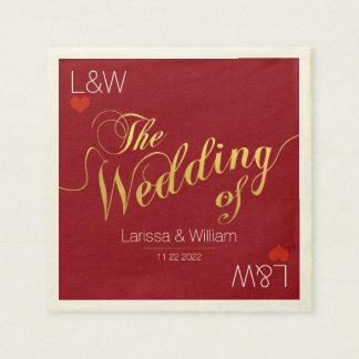red wedding love day party paper napkins