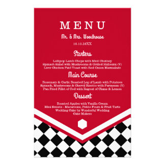 Red Wedding Menu with Black Checkered Pattern