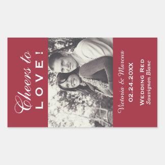 Red Wedding Photo Wine Bottle Favour Rectangular Sticker