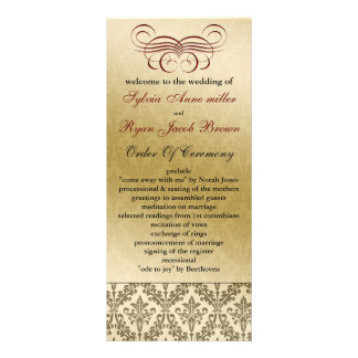 red Wedding program Rack Card