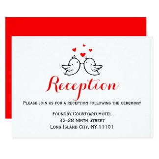 Red Wedding Reception Lovebirds Love Card
