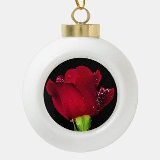 Red Wedding Rose Ceramic Ball Decoration