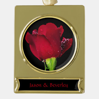 Red Wedding Rose Gold Plated Banner Ornament