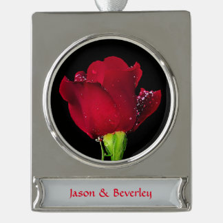 Red Wedding Rose Silver Plated Banner Ornament
