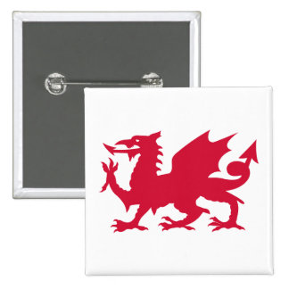 Red Welsh Dragon 15 Cm Square Badge