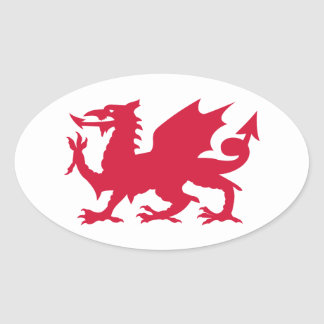 Red Welsh Dragon Oval Sticker