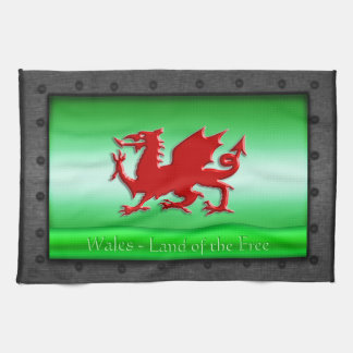 Red Welsh Dragon, riveted steel frame with green Tea Towel