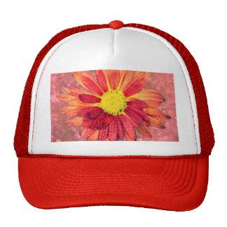 red wet flower trucker hat