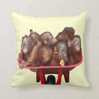 Red Wheelbarrow Orangutan Babies Cushion