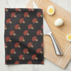 Red whimsical mushroom kitchen towel
