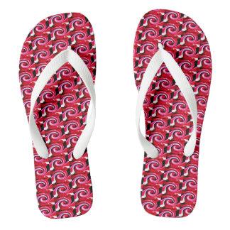 Red whirls thongs