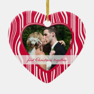 Red & White 1st Christmas together: Wedding Ceramic Heart Decoration