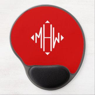 Red White 3 Initials Diamond Shape Monogram Gel Mousepads
