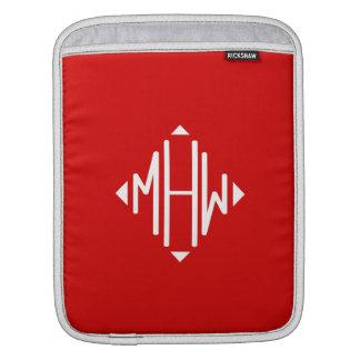 Red White 3 Initials Diamond Shape Monogram Sleeve For iPads