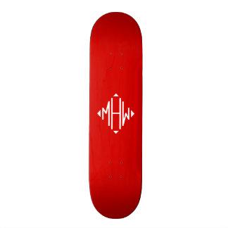 Red White 3 Initials Diamond Shape Monogram Skateboard