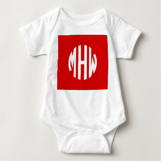 Red White 3 Initials in a Circle Monogram T-shirts
