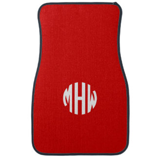 Red White 3 Initials in a Circle Monogram Floor Mat