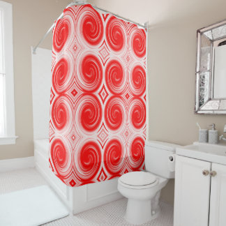 Red White Abstract Swirl Pattern Shower Curtain