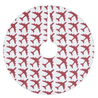 Red white airplane pattern tree skirt