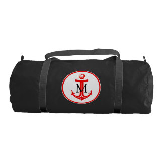 Red White Anchor and Monogram Gym Duffel Bag