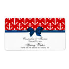 Red, White Anchors Navy Bow Party Water Label
