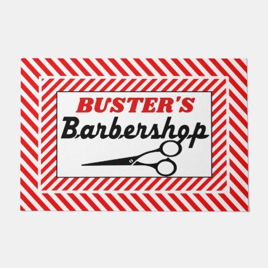Red White and Black Barbershop Doormat