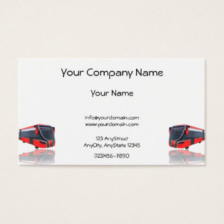 Red White and Black Bus on White Background Business Card