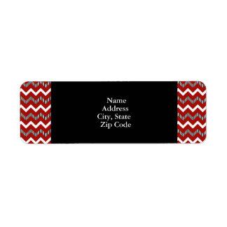 Red, White and Black Chevron Pattern Return Address Label