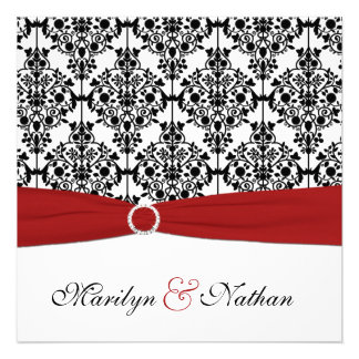 Red White and Black Damask Wedding Invitation
