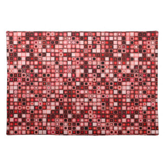 Red, White And Black Funky Retro Tiles Pattern Place Mats