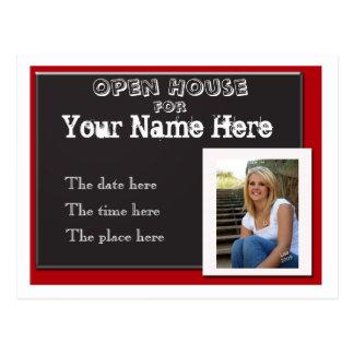 Red white and black graduation open house invitati postcard